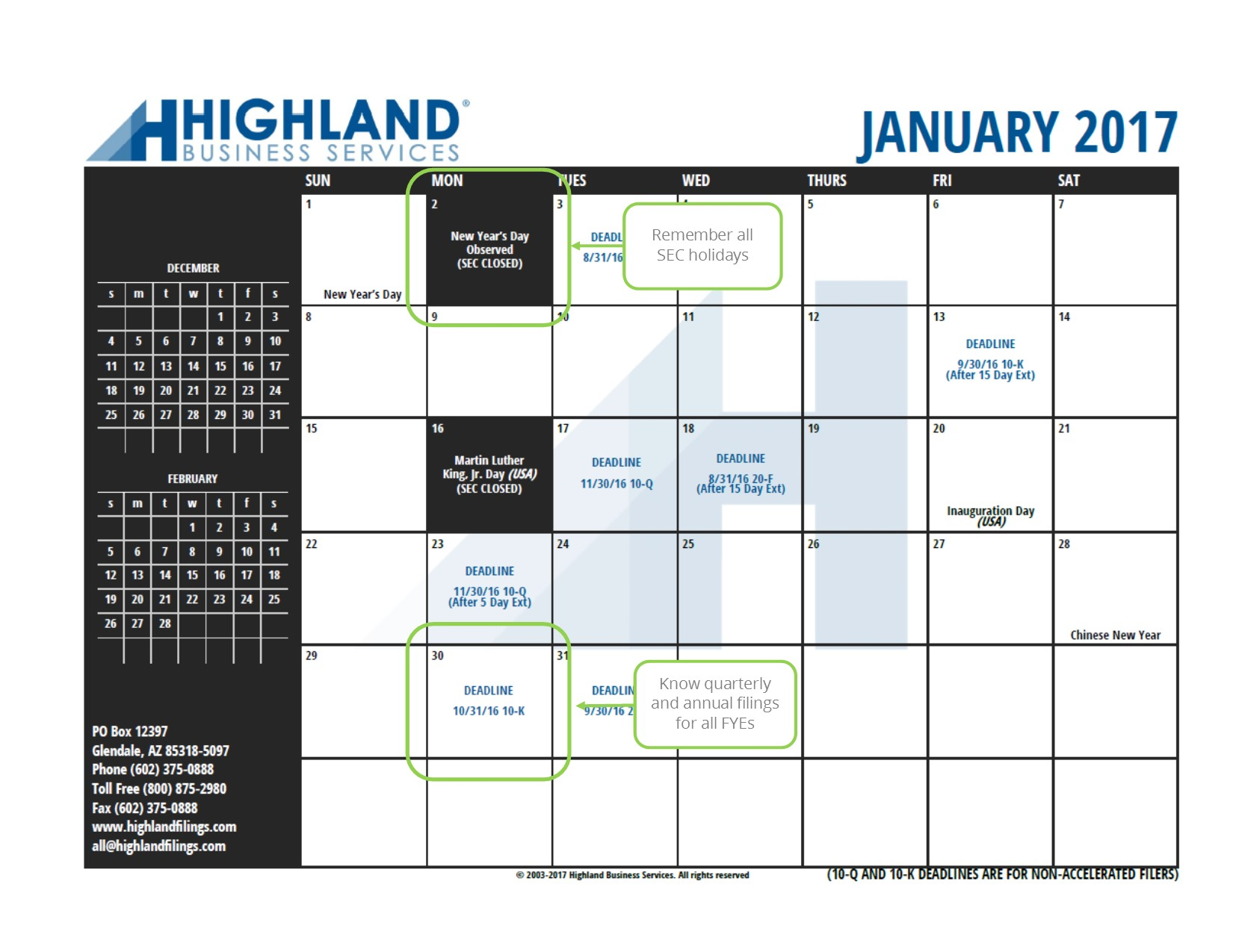 Highland business services our printable calendar of filing deadlines and sec holidays is a valuable resource to help keep you on track for your reporting requirements sciox Images